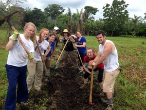 Digging irrigation trenches in Panama
