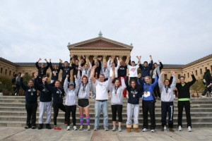 Endurance members on the Rocky steps after completing the Philadelphia Full and Half Marathons in 2011.
