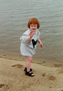 Age 4, early morning walk on the beach in Provincetown with my grandfather.