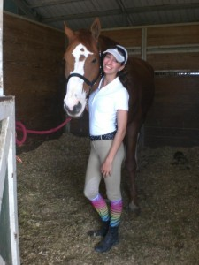 Hanging out before our practice with Dennis at the 2012 Winter Equestrian Festival in Wellington, FL.