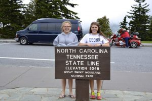 My sister and I on the North Carolina, Tennessee border in the Great Smoky Mountains National Park