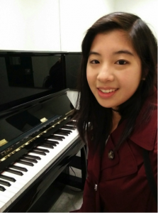 Me in one of the music building's practice rooms