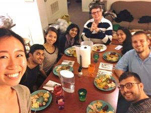 Tulsi's roommates and friends celebrating Friendsgiving