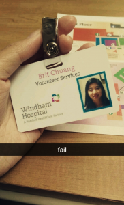 Back in fall 2016 when Windham Hospital spelled Brite's name wrong and she had to wear it for two weeks.