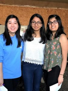 Brite with her two Collegiate Health Service Corps site volunteers, Radha (middle) and Mehak (right).