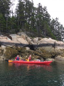 Mindy and her boyfriend kayaking around Barlett Island in Bar Harbor, ME.