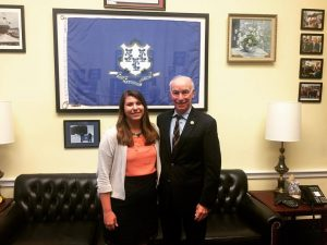 Alyssa with Congressman Courtney on her last day of the internship.