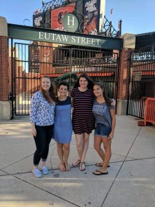 Some of the members of Dr. Govoni's lab and Dr. Reed's lab explored Baltimore after conference sessions! (Left to right: Veronica Pleasant (UG), Mary Wynn (G), Dominique Martin (G), and Helen Ianniti (UqG)).