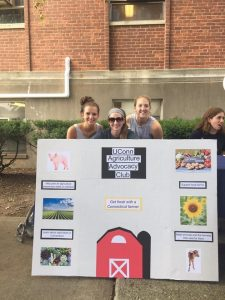 Vice President Mindy (left) and President Erin (middle) are shown tabling at the annual animal science ice cream social for agriculture advocacy club in Fall 2017.