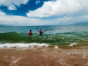My first dip at Kaanapali Beach!